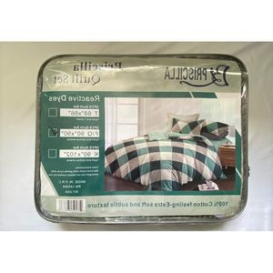 100% Cotton Feeling 3pcs Quilt Set -Queen Checked